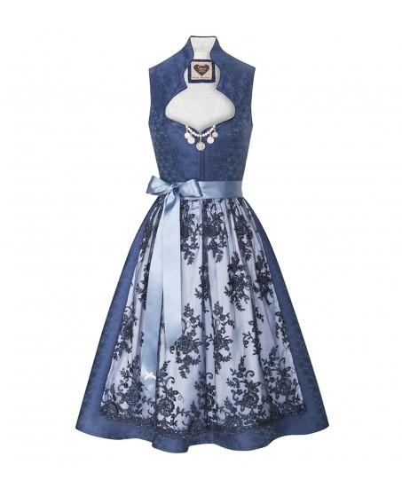 Seidendirndl Annabell in Blau mit Ornamenten
