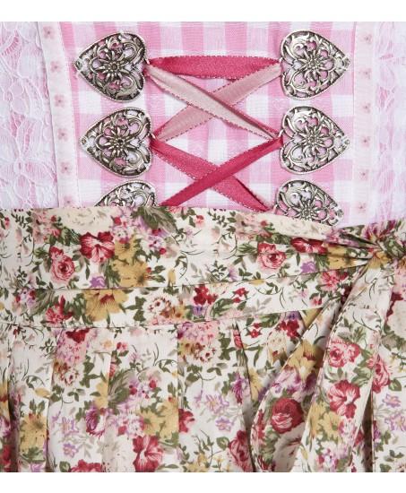 Rosa/Weiß kariertes Dirndl mit Blumenschürze