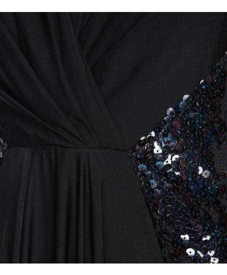 Abendkleid mit Raffung aus Stretch/Pailletten