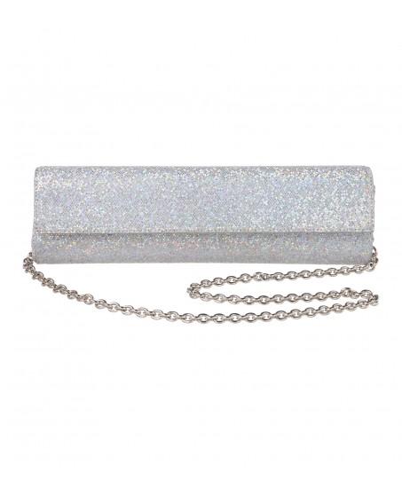 Schmale Glitzer-Clutch in Silber