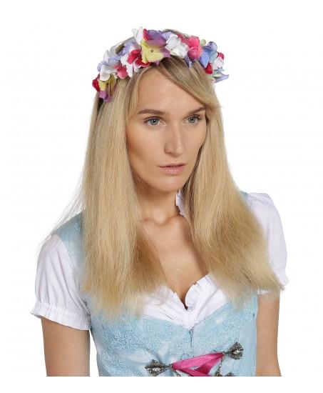 Haarkranz aus Hortensien-Blumen in Multicolor