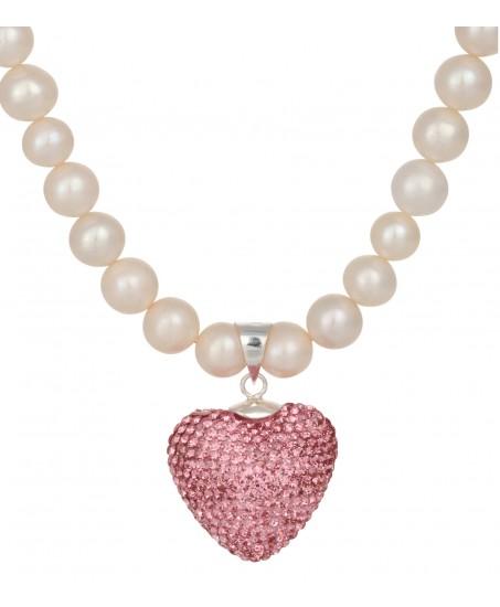 Kette mit Herz aus Swarovskisteinen in Pink