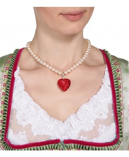 Kette mit Herz aus roten Swarovskisteinen