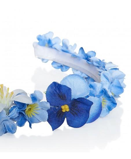 Schmaler Haarkranz aus blauen Stoffblüten