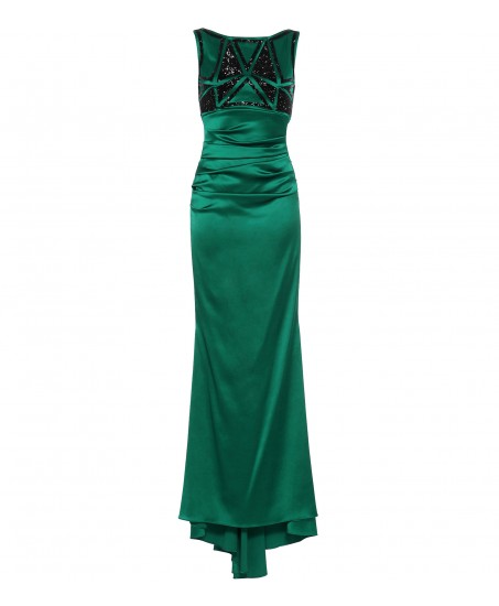 Stretch-Crepe Robe in Emerald