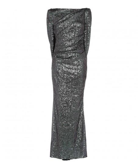 Paillettenkleid in Gruen/Silber mit Cape