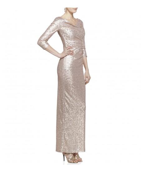 Paillettenkleid mit langem Arm in Gold