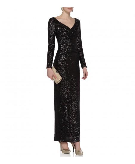 Paillettenkleid mit langem Arm in Schwarz