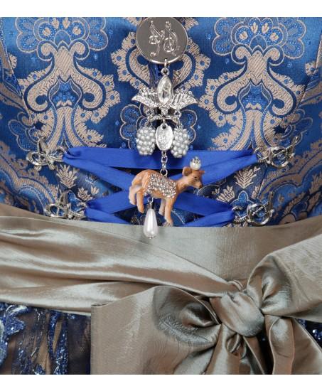 Blaues Dirndl mit goldenen Ornamenten