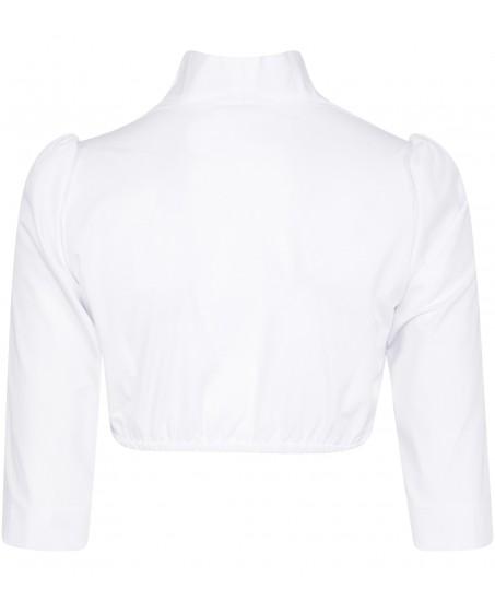 Stehkragenbluse in Weiss mit langem Arm