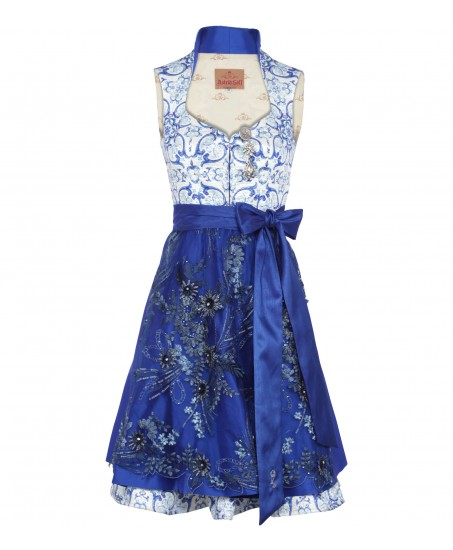 Dirndl in Royalblau mit Ornamenten
