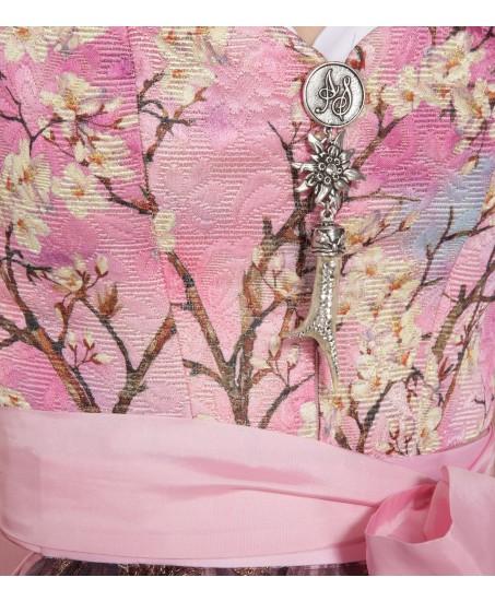 Dirndl in Rosa mit Blumenprint
