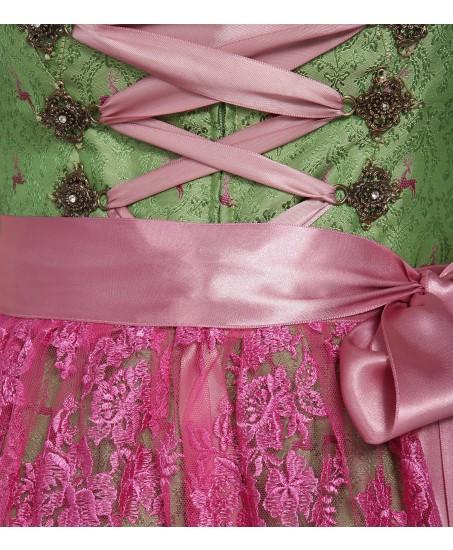 Grünes Dirndl mit pinker Spitzenschürze