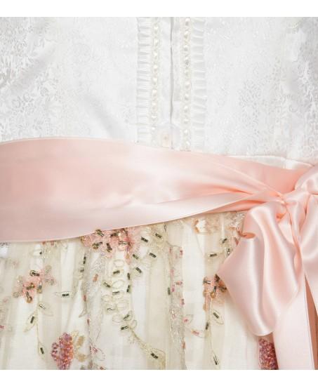 Brautdirndl in Weiss/Rosé