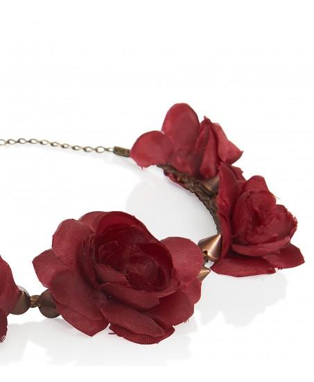 Haarband mit roten Blüten und Nieten