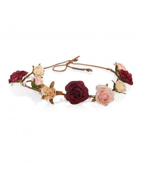 Feines Haarband aus Satinblüten und Perlen
