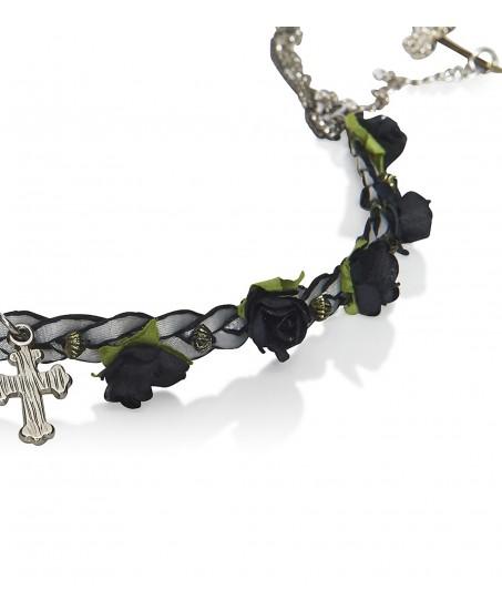 Haarband mit Rosenblüten und Kreuzanhänger