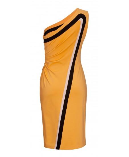 Etuikleid im Retro-Look aus Jersey in Gelb