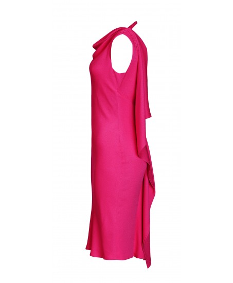 Seidenminikleid mit Volants in Pink