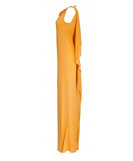 Maxikleid mit Volants aus Seide in Gelb