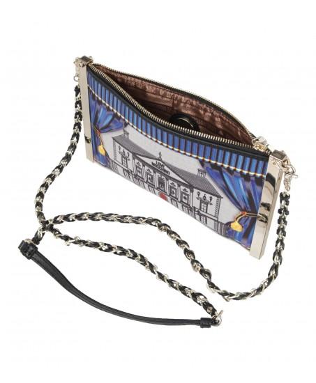 Bedruckte Handtasche mit Gliederkette
