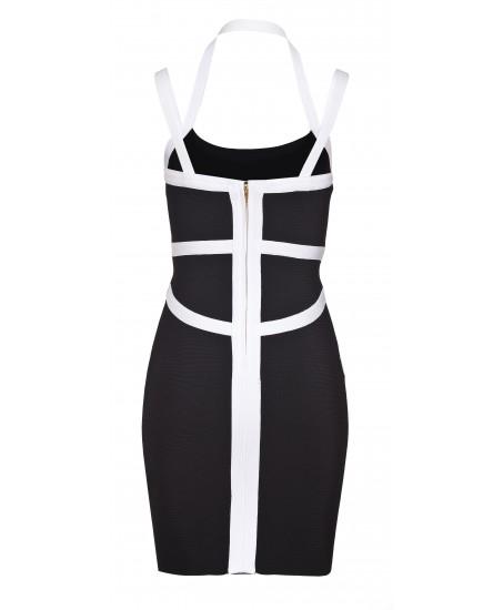 Stretch-Minikleid in schwarz/weiss