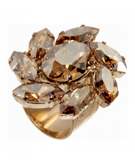 Floraler Schmuckstein-Ring in Gold