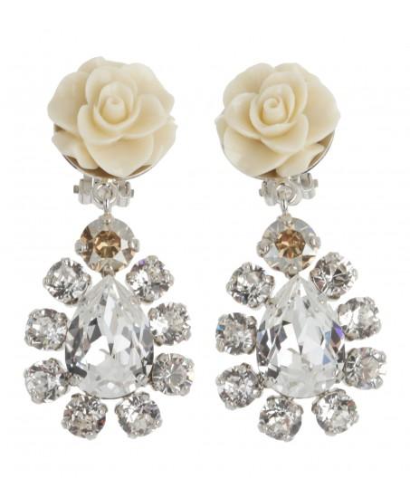 Tropfen-Ohrringe mit Rose in Weiß