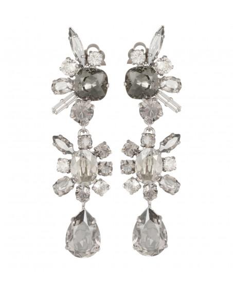 Ohrclip mit Kristallen in Grau und Crystal