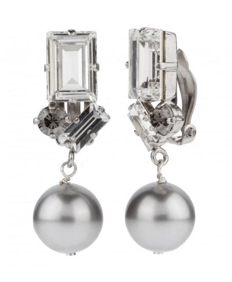 Hängeclips mit grauer Perle