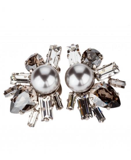 Perlen-Ohrclips mit Kristallen