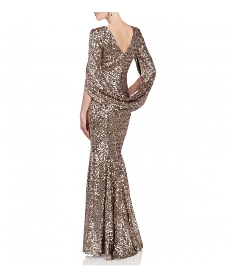 Kleid mit Cape in Gold/Braun