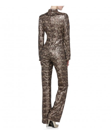 Jumpsuit mit Cut-Out in Braun-Bronze