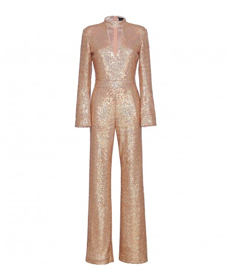 Jumpsuit mit Cut-Out in Apricot