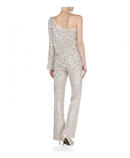 One-Shoulder Jumpsuit in Gold-Weiss