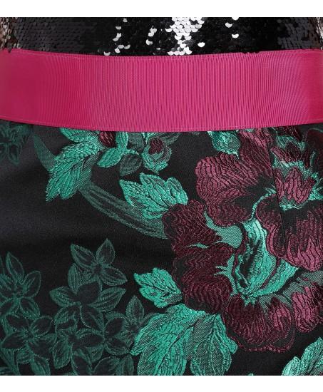 Robe mit kleiner Schleppe und Blumenprint