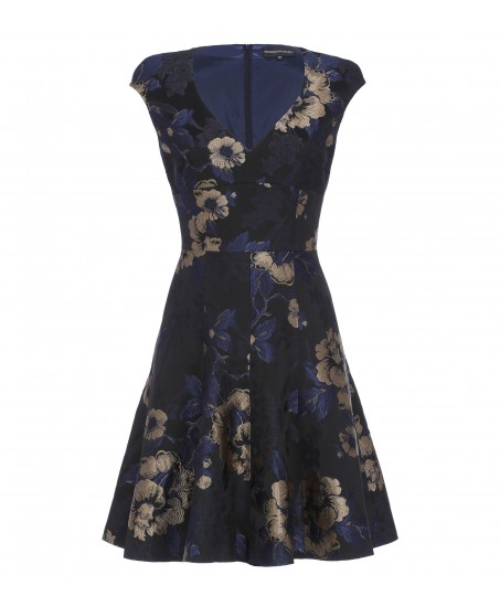 Brokatkleid mit Blumenprint in Blau