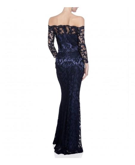 Carmenkleid aus dunkelblauer Spitze