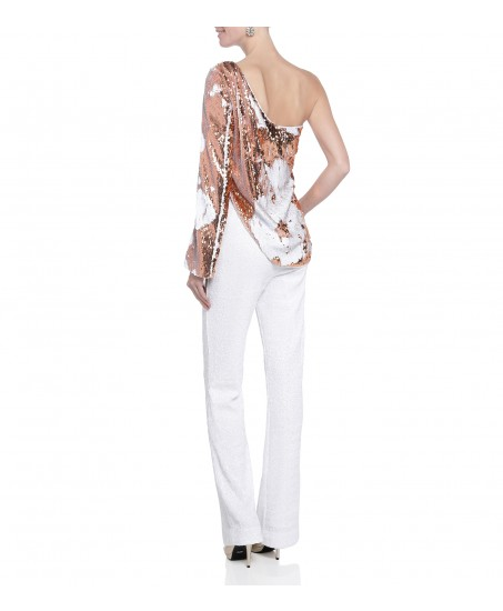 One-Shoulder Jumpsuit in Weiss-Rosé
