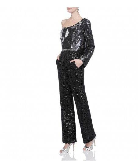 One-Shoulder Jumpsuit in Schwarz-Silber