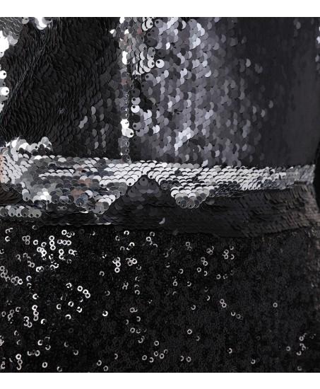 One-Shoulder Jumpsuit in Schwarz-Silber