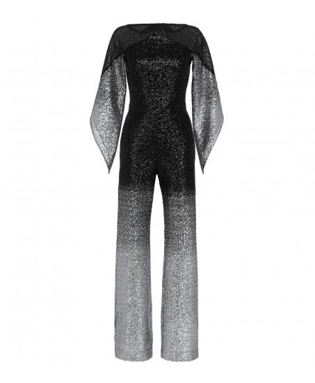 Jumpsuit mit angeschnittenem Arm in Silber-Schwarz
