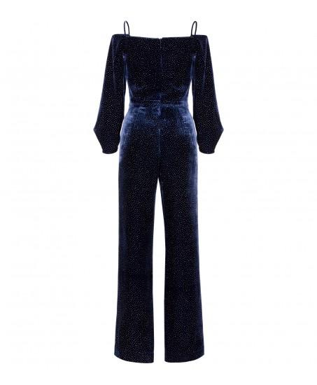 Blauer Samt-Jumpsuit mit Spaghetti-Trägern