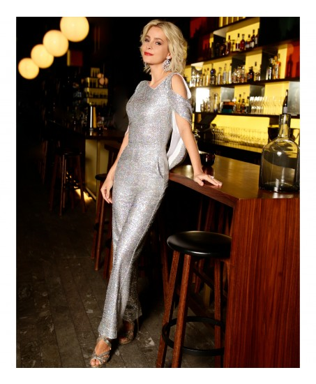 Jumpsuit mit Cut-Out in Holo-Silber