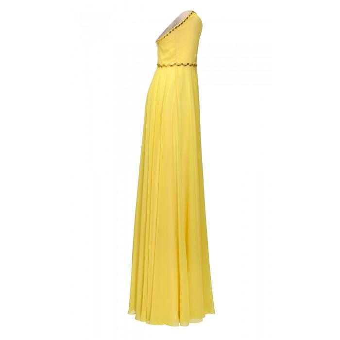 Korsagenkleid mit Swarovski-Kristallen in Gelb
