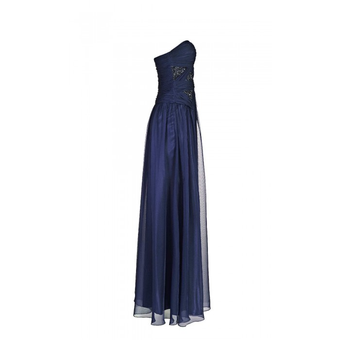Drapiertes bodenlanges Bustierkleid in Blau