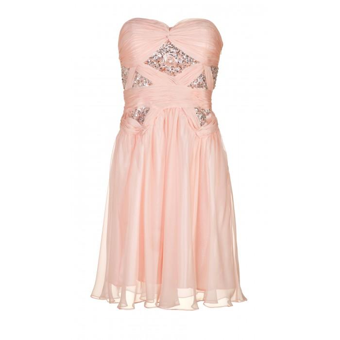Drapiertes Bustierkleid in Rosé