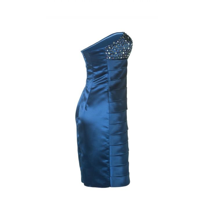 Besticktes Bandeau-Kleid in Blau