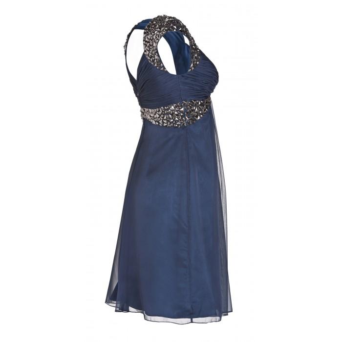 Minikleid mit bestickten Trägern in Blau