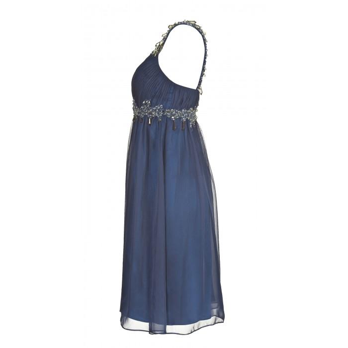 Minikleid mit verzierter Taille in Blau